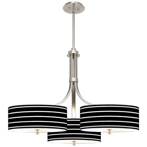 "Bold Black Stripe Giclee 36"" Wide Triple Pendant"