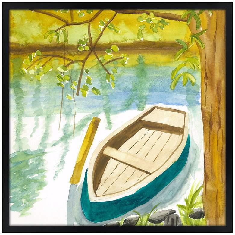 "Lakeside Meditation 21"" Square Black Giclee Wall Art"