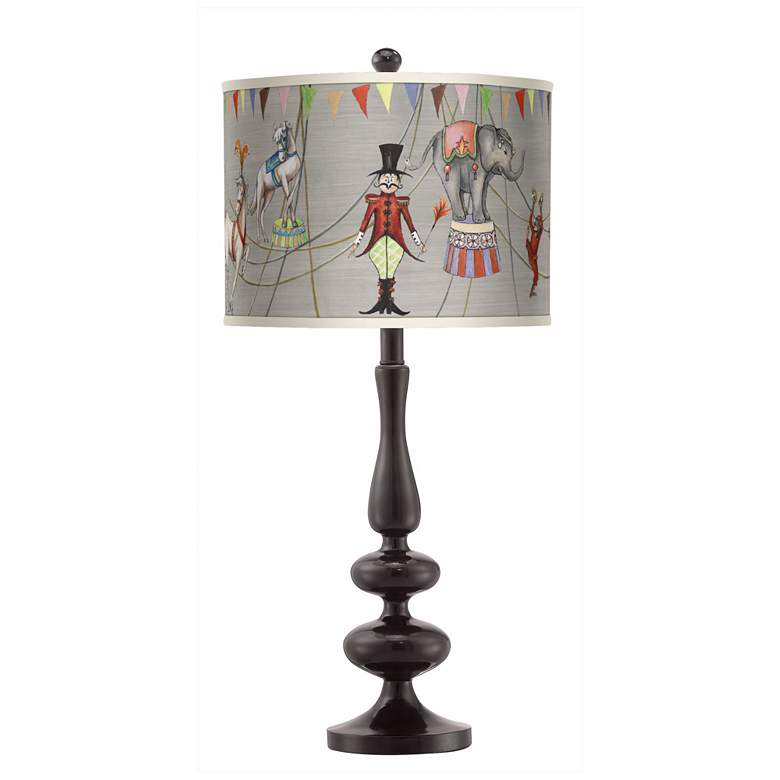 Circus Time Giclee Paley Black Table Lamp