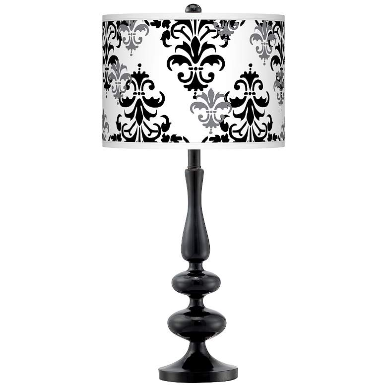 Damask Shadow Giclee Paley Black Table Lamp