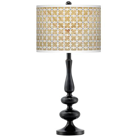 Marble Quatrefoil Giclee Paley Black Table Lamp