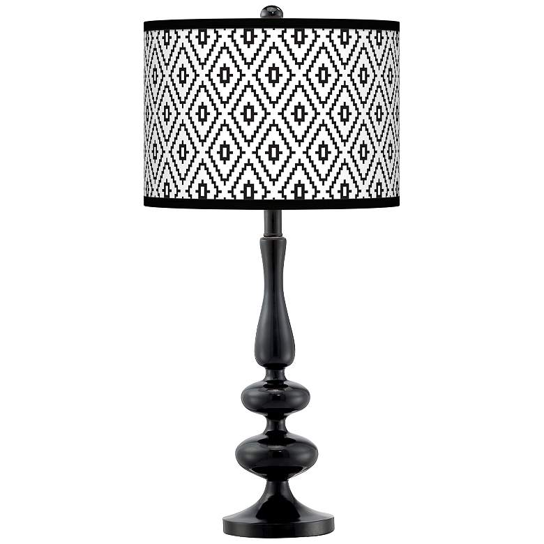 Black Diamonds Giclee Paley Black Table Lamp