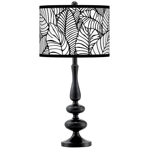 Tropical Leaves Giclee Paley Black Table Lamp