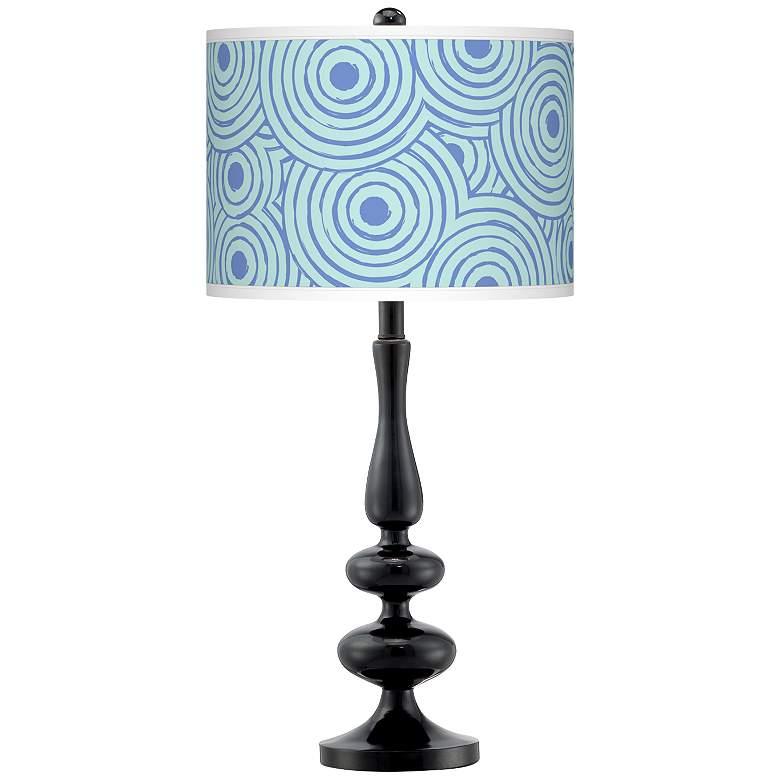 Circle Daze Giclee Paley Black Table Lamp