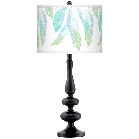 Light as a Feather Giclee Paley Black Table Lamp