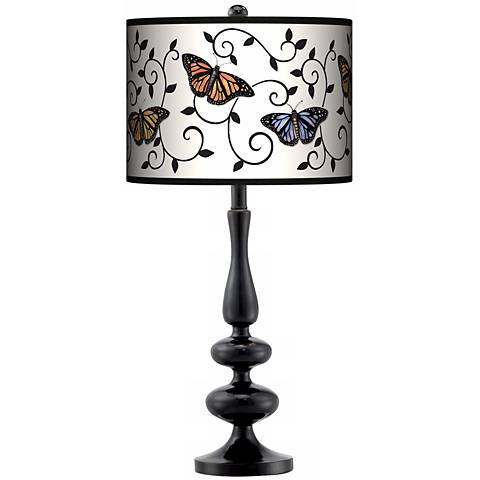 Marla Butterfly Scroll Giclee Paley Black Table Lamp
