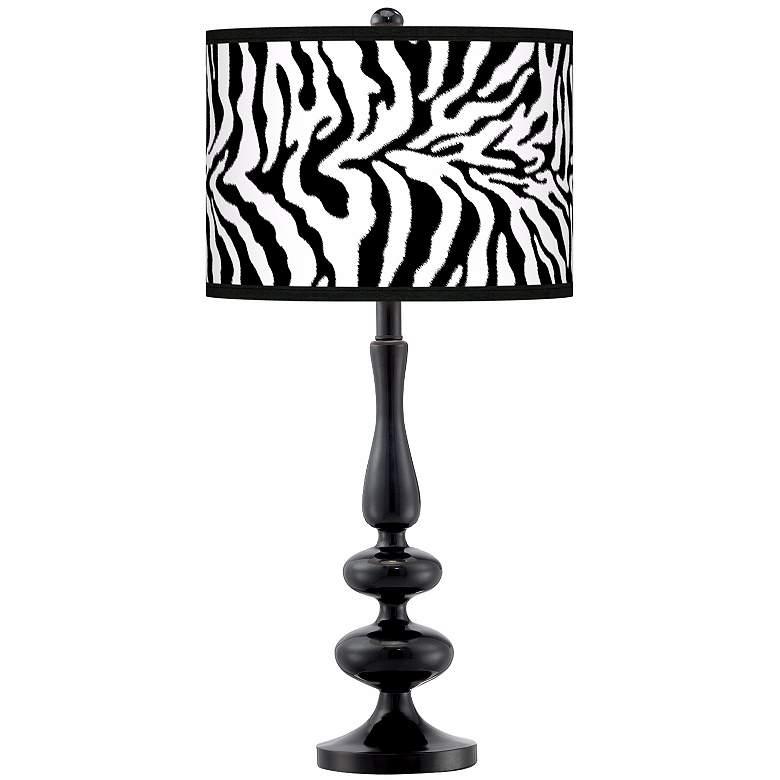 Safari Zebra Modern Gloss Black Base Table Lamp