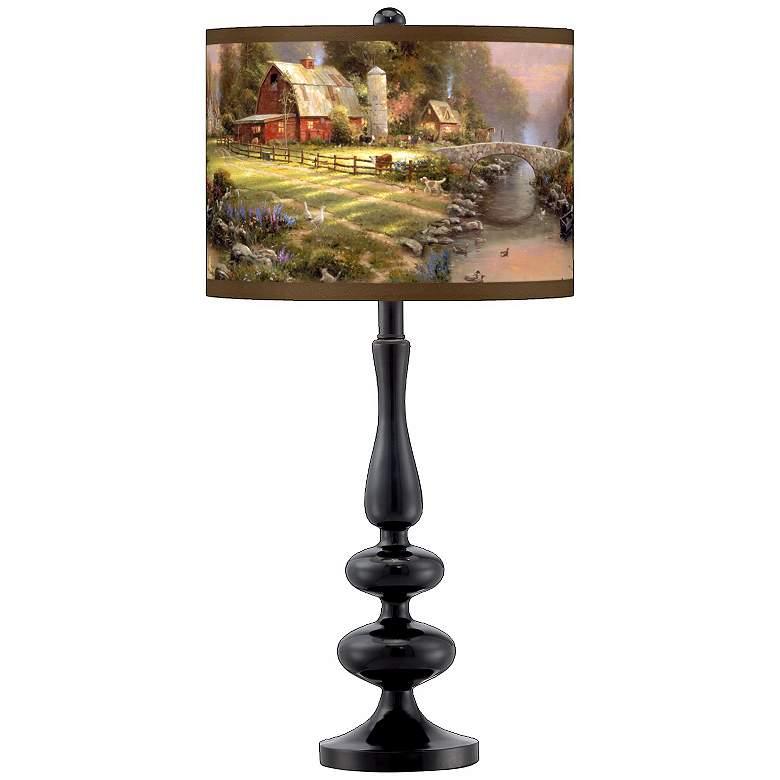 Thomas Kinkade Sunset at Riverbend Farm Black Table Lamp