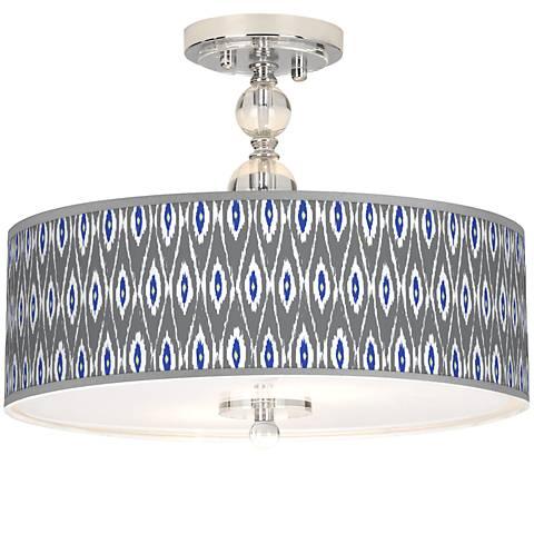 "American Ikat Giclee 16"" Wide Semi-Flush Ceiling Light"