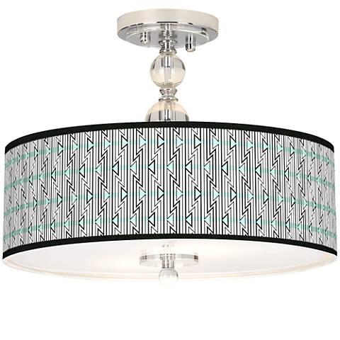 "Indigenous Giclee 16"" Wide Semi-Flush Ceiling Light"