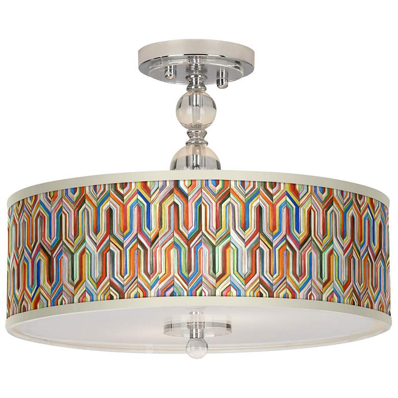 """Synthesis Giclee 16"""" Wide Semi-Flush Ceiling Light"""
