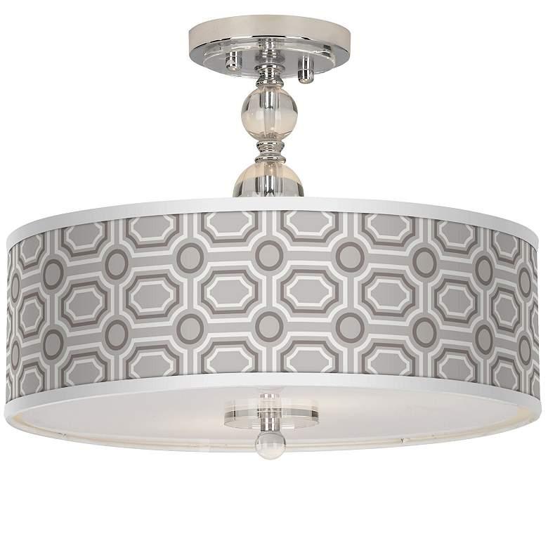 """Luxe Tile Giclee 16"""" Wide Semi-Flush Ceiling Light"""