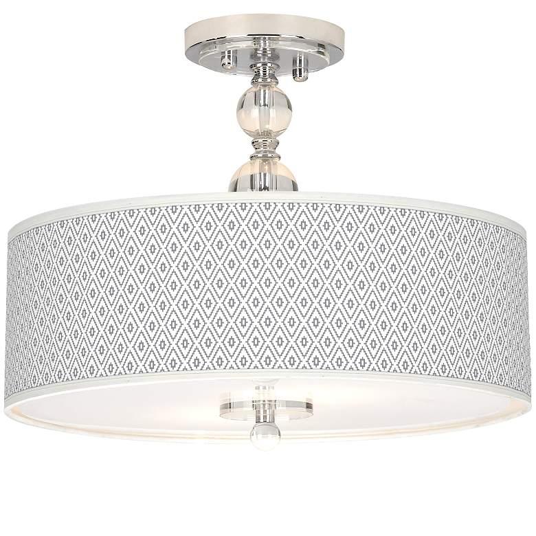 "Diamonds Giclee 16"" Wide Semi-Flush Ceiling Light"