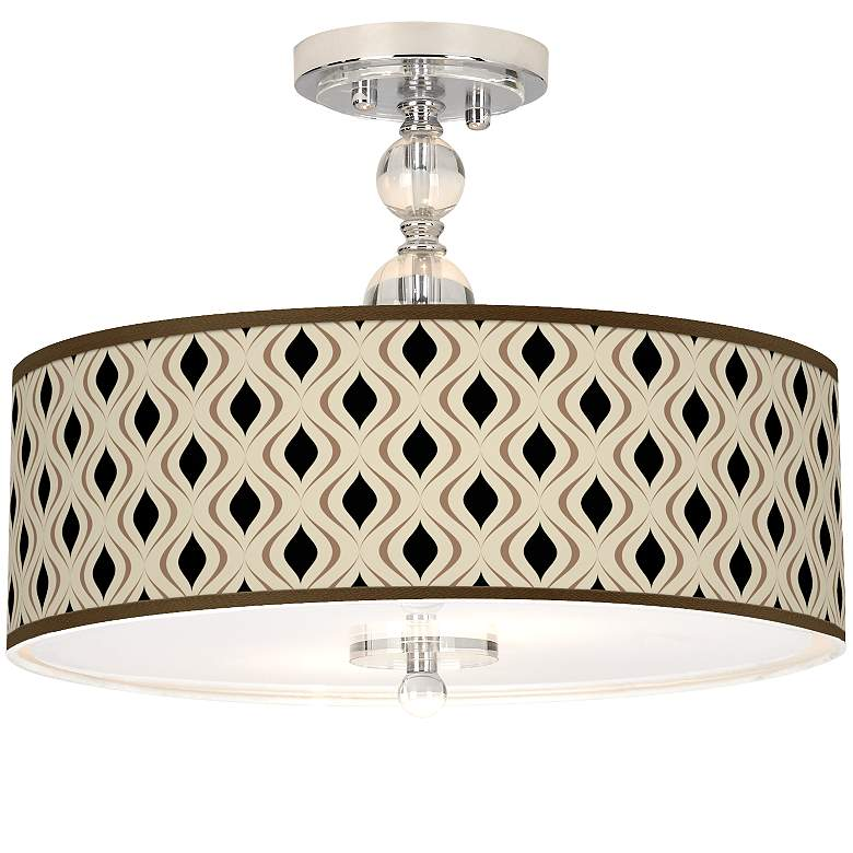 "Gray Retro Lattice Giclee 16""W Semi-Flush Ceiling Light"