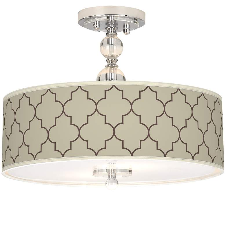 """Tangier Taupe Giclee 16"""" Wide Semi-Flush Ceiling Light"""