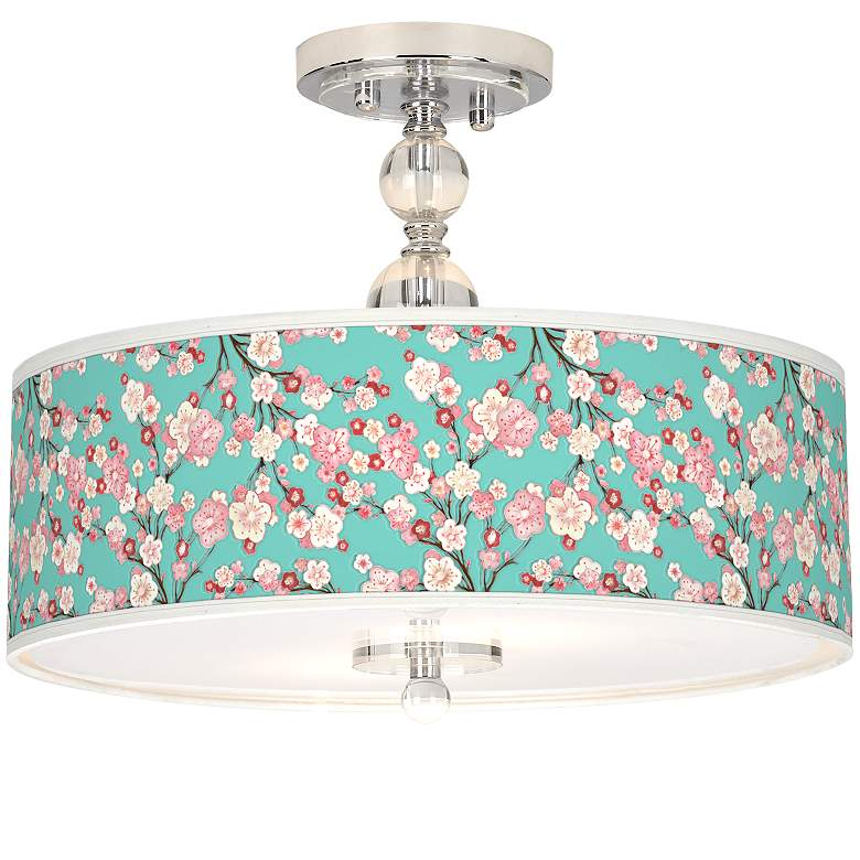 "Cherry Blossoms Giclee 16"" Wide Semi-Flush Ceiling Light"