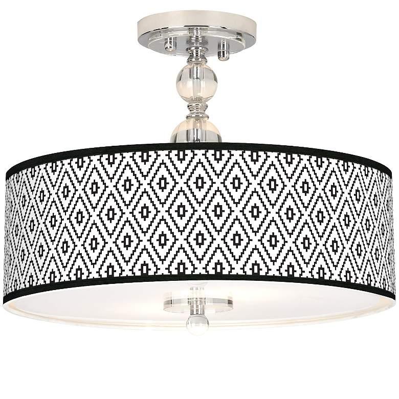 "Black Diamonds Giclee 16"" Wide Semi-Flush Ceiling Light"