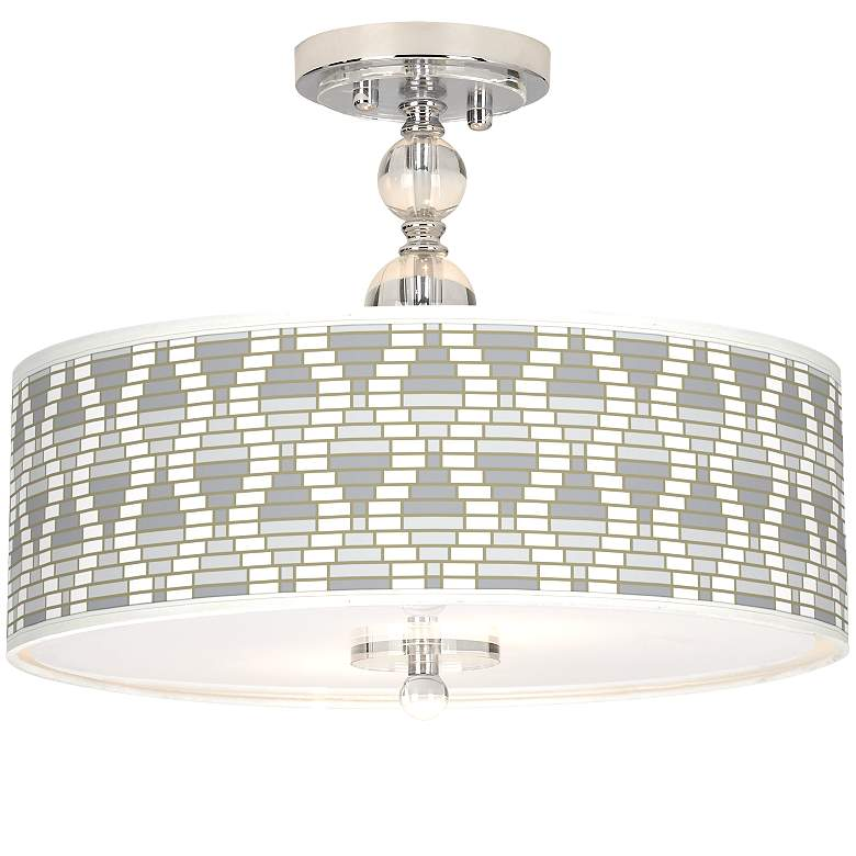 """Stepping Out Giclee 16"""" Wide Semi-Flush Ceiling Light"""