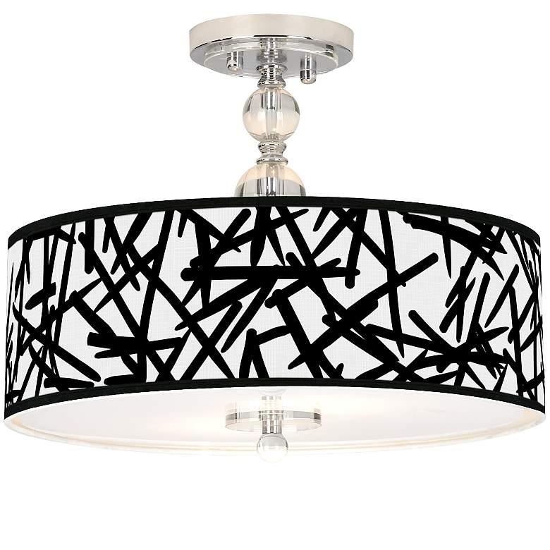 "Sketchy Giclee 16"" Wide Semi-Flush Ceiling Light"