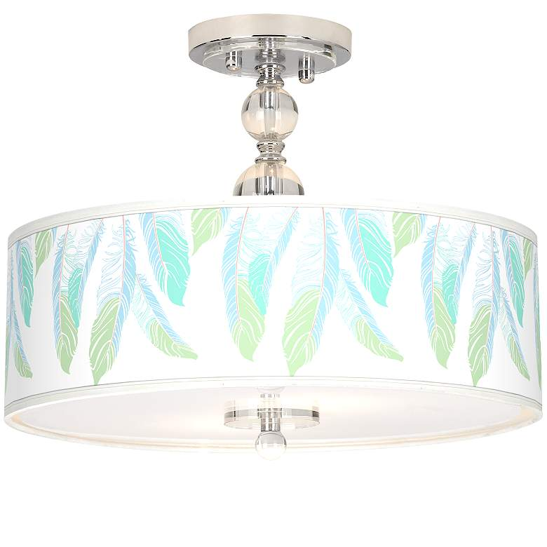 """Light as a Feather Giclee 16""""W Semi-Flush Ceiling Light"""
