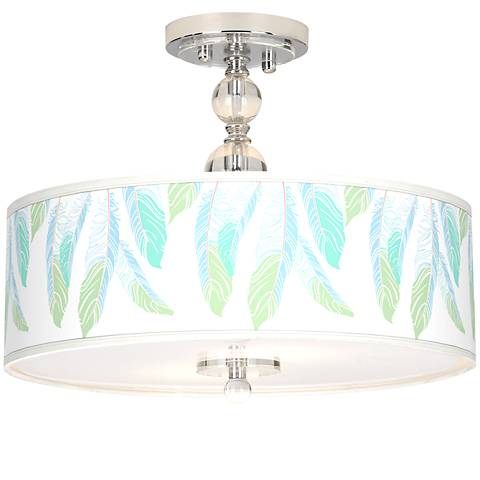 """Light as a Feather Giclee 16""""WSemi-Flush Ceiling Light"""