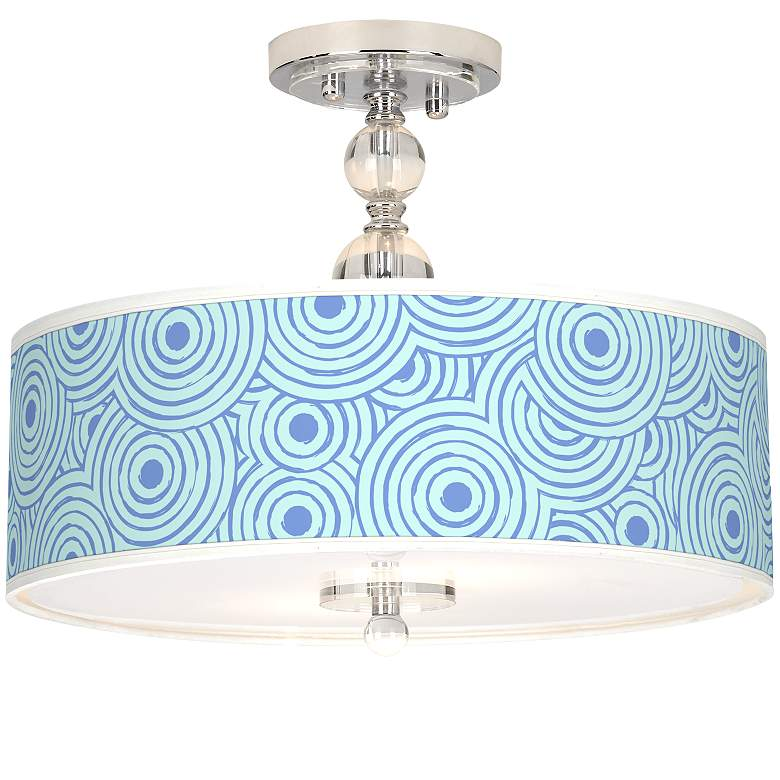 "Circle Daze Giclee 16"" Wide Semi-Flush Ceiling Light"