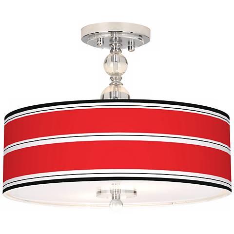 "Red Stripes Giclee 16"" Wide Semi-Flush Ceiling Light"