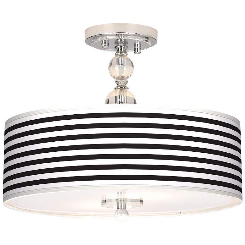 "Black Horizontal Stripe 16"" Wide Semi-Flush Ceiling Light"