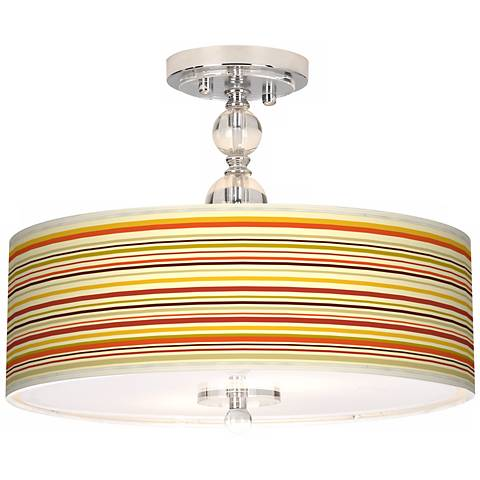 """Stacy Garcia Lemongrass Stripe 16"""" Semi-Flush Ceiling Light"""