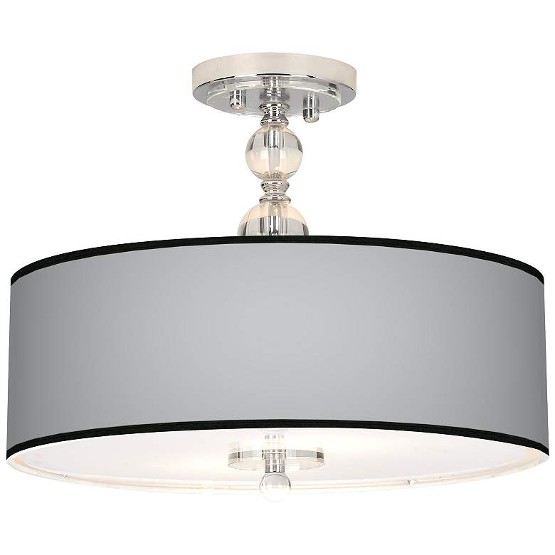 "All Silver Giclee 16"" Wide Semi-Flush Ceiling Light"