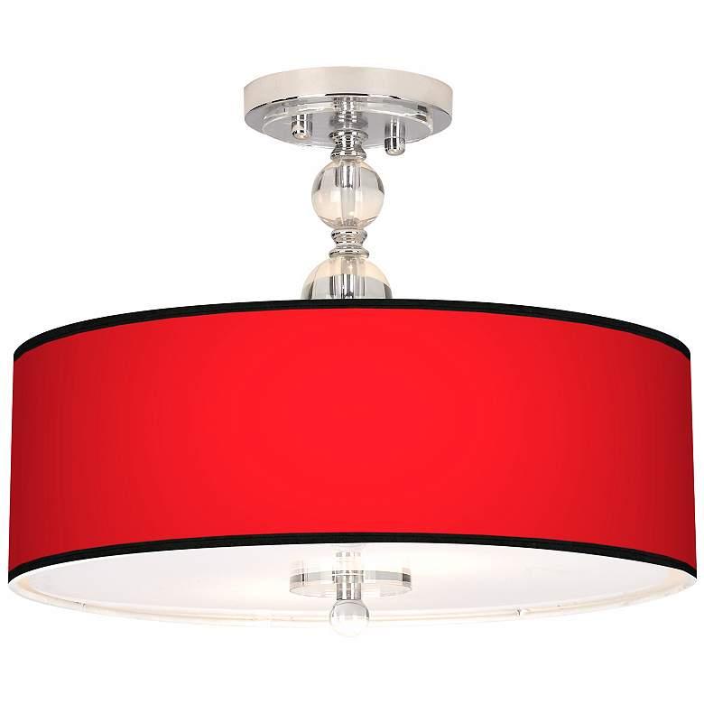 "All Red Giclee 16"" Wide Semi-Flush Ceiling Light"