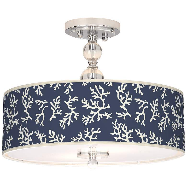 """Prussian Coral Giclee 16"""" Wide Semi-Flush Ceiling Light"""