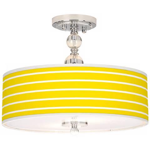 "Vivid Yellow Stripes 16"" Wide Semi-Flush Ceiling Light"