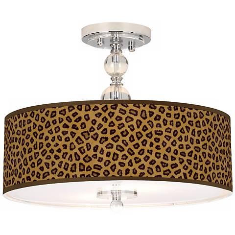 "Safari Cheetah 16"" Wide Semi-Flush Ceiling Light"