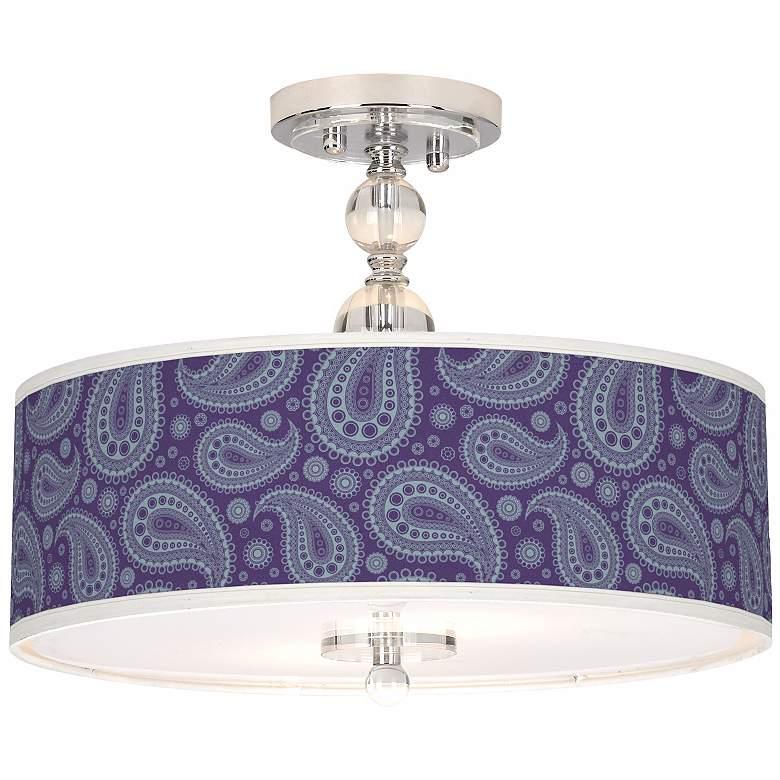 "Purple Paisley Linen Giclee 16"" Semi-Flush Ceiling Light"
