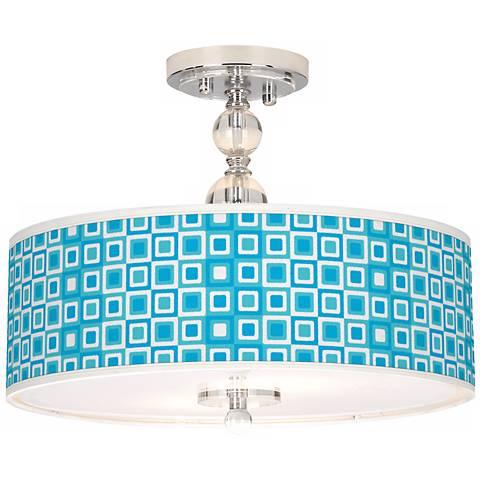 """Blue Boxes Linen Giclee 16"""" Wide Semi-Flush Ceiling Light"""