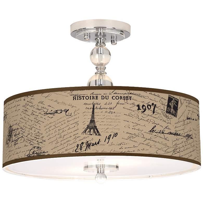 """Letters to Paris Linen 16"""" Wide Semi-Flush Ceiling Light"""