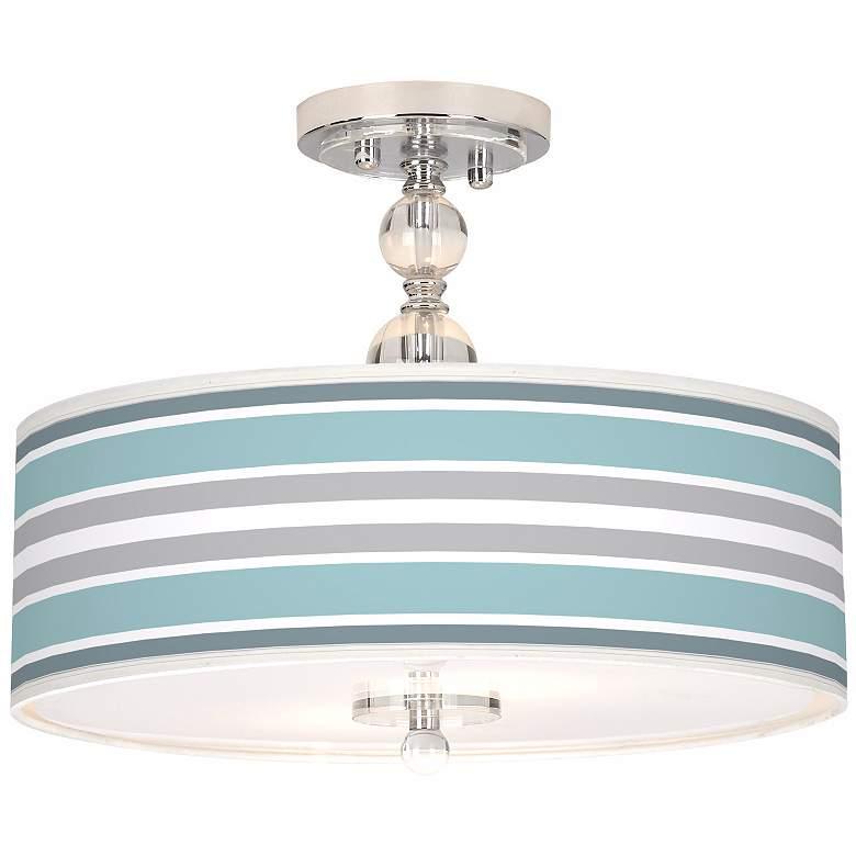 "Multi Color Stripes Giclee 16"" Wide Semi-Flush Ceiling Light"