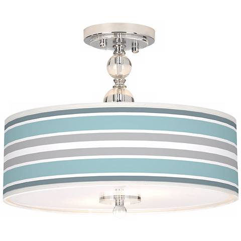 "Multi Color Stripes Giclee 16"" Wide Semi-Flush Ceiling Light"