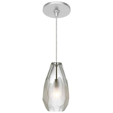 "Briolette 4 1/3""W Satin Nickel Frost Glass LED Mini Pendant"