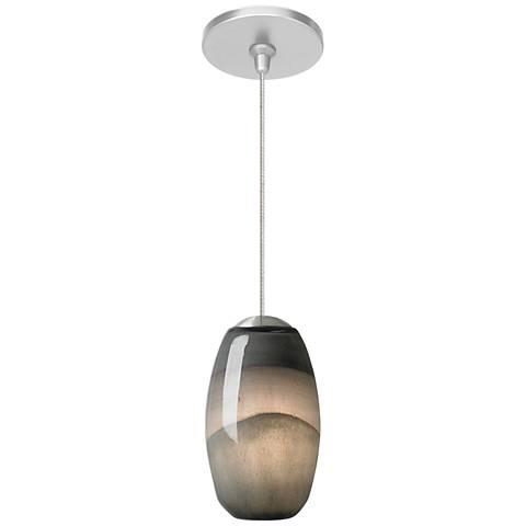 "Emi 4"" Wide Satin Nickel Gray DarkPurple LED Mini Pendant"