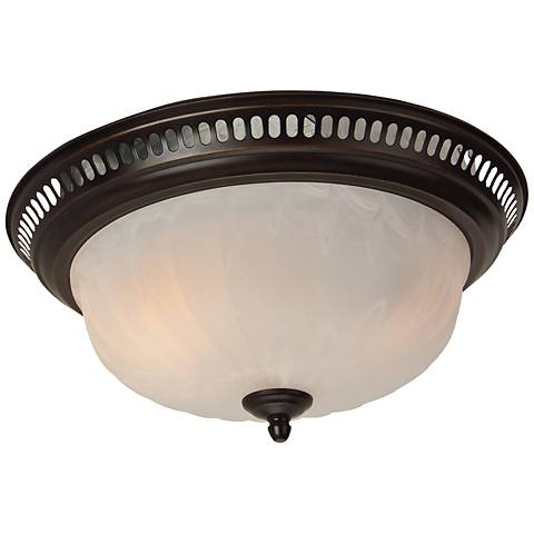 Craftmade Bronze and Alabaster Glass Bathroom Fan with Light