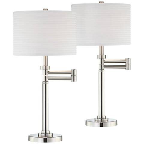 Brushed Steel Pleated Shade Swing Arm Desk Lamps - Set of 2