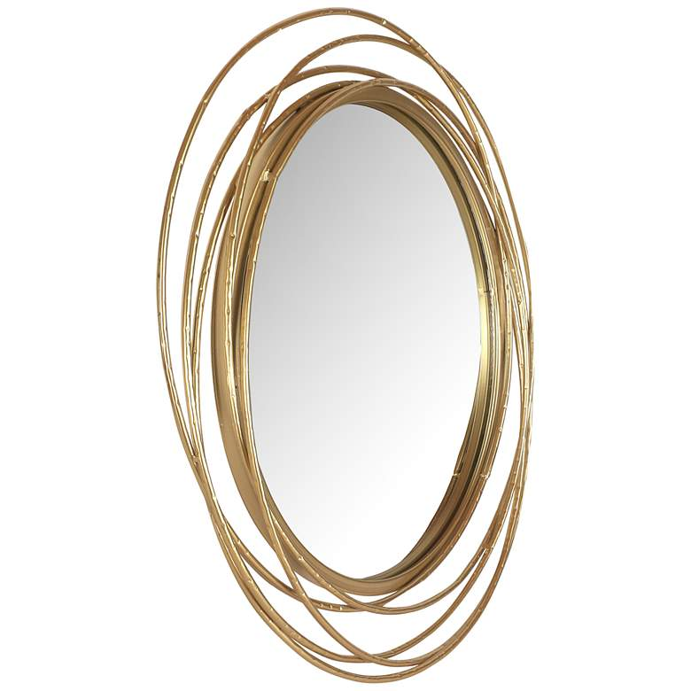 """Northwood Gold Rings 27 1/2"""" Round Metal Wall Mirror"""