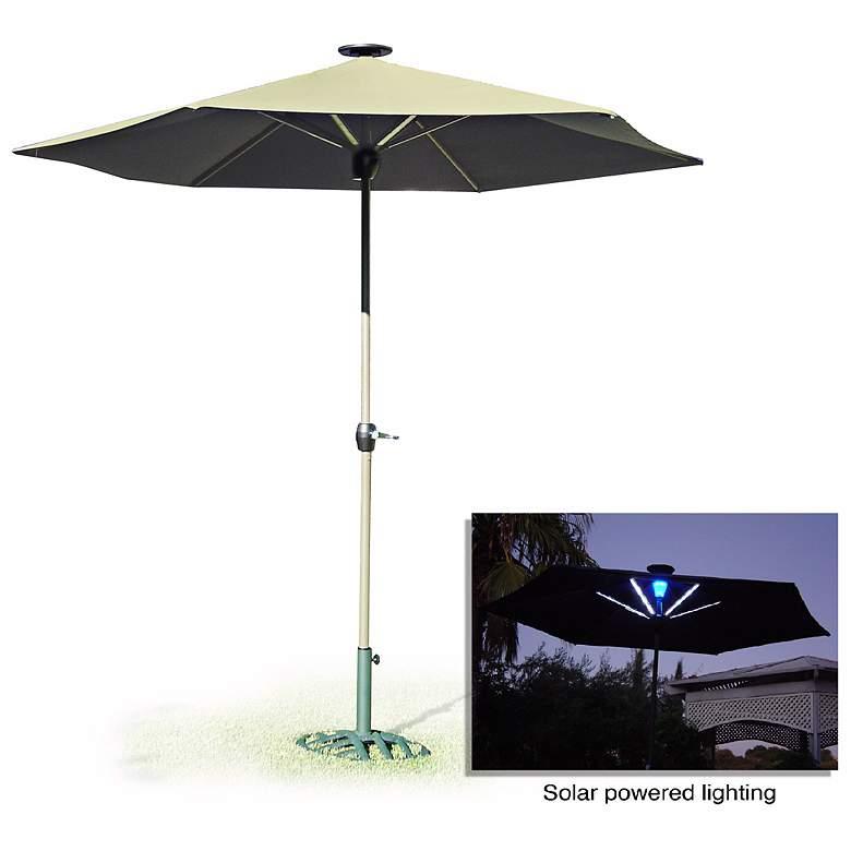 Beige Solar Outdoor Umbrella with LED Light