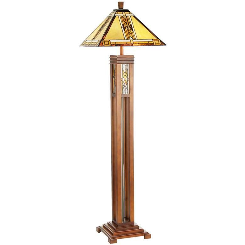 Walnut Mission Tiffany Style Floor Lamp with Night Light