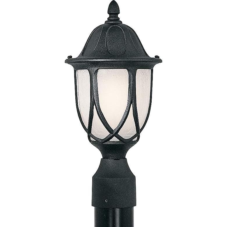 "Capella 19 1/4""H Crackled Glass Black Outdoor Post Light"