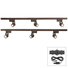 8 foot track lighting lamps plus pro track bronze finish 300w lv plug in linear track kit aloadofball Choice Image