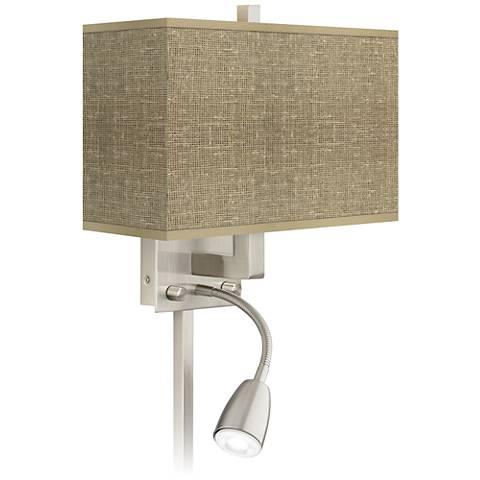 Burlap Print Giclee LED Reading Light Plug-In Sconce