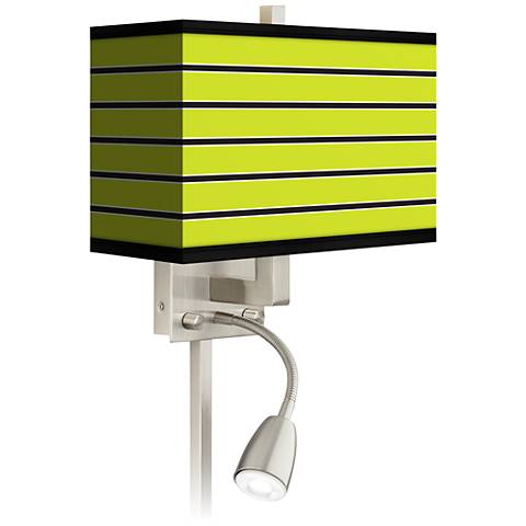 Bold Lime Green Stripe LED Reading Light Plug-In Sconce